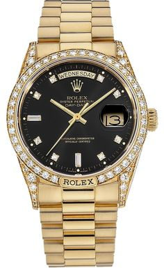 Rolex Men's Presidential Custom  Black Diamond Dial & Diamond Lugs Watch REF 18238. Get the lowest price on Rolex Men's Presidential Custom  Black Diamond Dial & Diamond Lugs Watch REF 18238 and other fabulous designer clothing and accessories! Shop Tradesy now