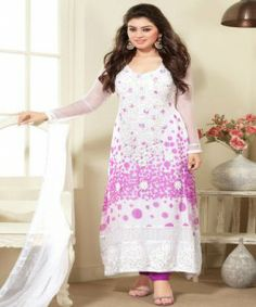 Churidar Salwar: Faux Chiffon Add a whirl of artistic impression like Indian celebrity Hansika Motwani dolled up in this off white faux chiffon churidar suit. Kameez features polka printed patterns, beautifully embroidered long neck line and an attractive border. Comes with a matching bottom and dupatta.