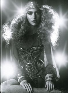love the glimmer and big hair!!! hair is a huge deal...make sure its super editorial, big and exaggerated
