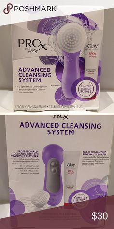 ProX Olay Advanced Cleansing System Purchased but never used! Take your facial cleansing routine to a whole new level. ProX by Olay Advanced Cleansing System delivers superior cleansing on hard-to-remove makeup. The 2-speed rotating facial cleansing brush massages the ProX by Olay Exfoliating Renewal Cleanser onto the skin. The lathering formula thoroughly cleans as it gently exfoliates. The system was professionally designed to deliver proven results. Olay Makeup Brushes & Tools