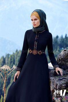 2017 Tuğba Elbise Siyah Uzun Kış