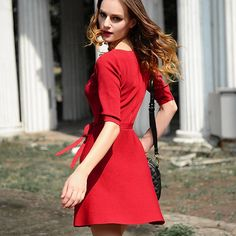 Fashion Solid Color 3/4 Sleeve Knitting Dress