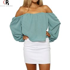Women Turquoise Lantern Sleeve Off the Shoulder Chiffon Loose Casual Short Top Blouse 2016 Summer Fashion