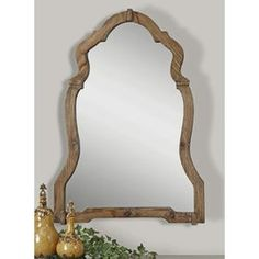 Agustin Framed Wall Mirror This ornate mirror features a light, walnut stained wood frame with burnished details. Painting Ceramic Tile Floor, Tile Floor Diy, Painting Tile Floors, Round Wall Mirror, Wood Mirror, Wood Wall, Wall Mirrors, Mirror Mirror, Mirror Glass