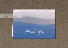 Blue Watercolor Thank You Card Ombre Gradient INSTANT DOWNLOAD Beach Ocean Folded Note Notecard Blank Inside Digital or Printed - Shavon