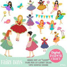 Fairy Clipart, Children Clipart, Flower Clipart, Fantasy clipart, Outdoor clipart, Clipart,  Faerie clipart, Nature Clipart, Bunting Clipart by DigitalPaperCraft on Etsy