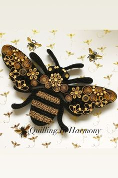 """Title: """"Bee-Essential"""" Quilling, hand crafted paper artwork by Jan Howard quilling_in_harmo. 3d Quilling, Quilling Images, Quilling Butterfly, Quilling Animals, Paper Quilling Patterns, Paper Quilling Jewelry, Quilled Paper Art, Quilling Tutorial, Quilling Paper Craft"""