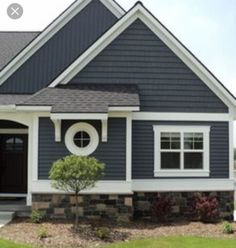 Pacific blue shake siding with stone...                                                                                                                                                                                 More