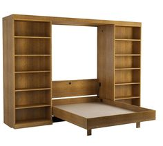 The Abbott Library Murphy Bed in Oak - Walnut Finish.  Shown with bed open