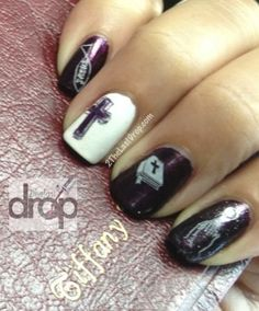 Religious nails with Holy Bible, cross, praying hands and Jesus