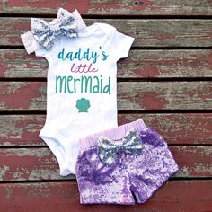 Daddy's Little Mermaid Baby Girl Bodysuit by GLITTERandGLAMshop