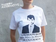 80s t-shirts Duckie Pretty in Pink movie stencil art tshirt spray painted by Rainbow Alternative on Etsy