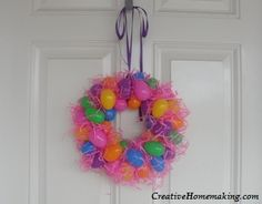 This Easter egg wreath is very inexpensive and easy to make (about an hour) and looks great on the front door! You probably already have everything you need to make it.