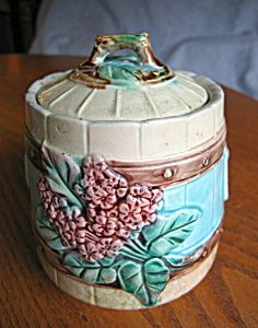 Majolica Flower and Picket Fence Jar