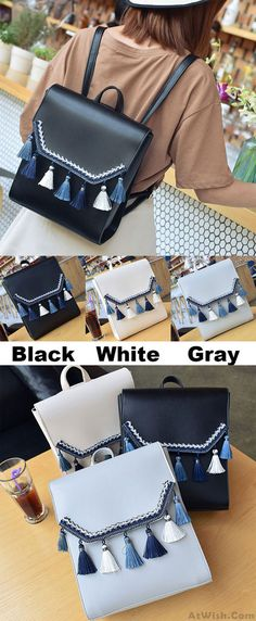 Which color do you like? Cute Square PU Embroidery Tassels Flap Lady School Backpack #cute #square #pu #tassel #school #backpack #bag