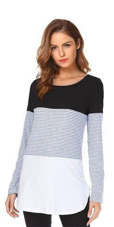 b9ba03d4028 Women s Long Sleeve Shirt Color Block Tops Tunic Blouses - Black -  CX187INLA20