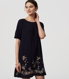 Primary Image of Bird Embroidered Swing Dress