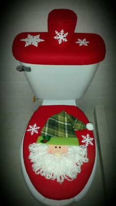 Santa Snowman Elk Toilet Seat Cover Contour Rug Bath Mat Carpet Bathroom Set New Year Xmas Christmas Decoration For Home. Christmas Sewing, Noel Christmas, All Things Christmas, Christmas 2019, Christmas Projects, Holiday Crafts, Felt Christmas Decorations, Christmas Ornaments, Felt Ornaments