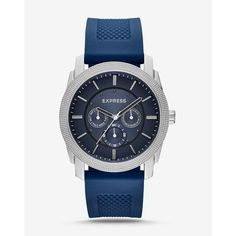 Express Rivington Textured Silicone Multifunction Watch - Navy ($128) ❤ liked on Polyvore featuring men's fashion, men's jewelry, men's watches, blue, mens chronograph watches, mens silicone watches and mens blue watches