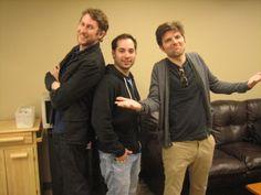 Scott Aukerman, Harris Wittels, Adam Scott.