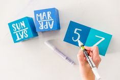 Make your own DIY wood block perpetual desktop calendar!