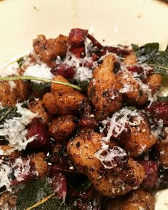 Homemade ricotta gnocchi with a brown butter sauce, crispy pancetta and sage!