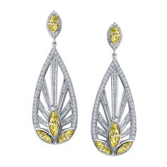 $625 Stunning Canary and White Earrings by Lafonn