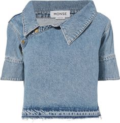 Monse Denim Asymmetrical Shoulder Boxy Top