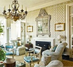 Living room with lattice/treillage walls -- photo: Peter Frank Edwards -- Veranda, May/June 2011 Living Area, Living Spaces, Living Room, European Furniture, Chinoiserie Chic, Apartment Therapy, Traditional Interior, Traditional Design, Interior Walls