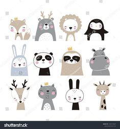 Hand Drawn Vector Illustration Posters Cards Vector de stock (libre de regalías) 1203170347 – The World Cute Sloth, Cute Fox, Image Panda, Design Your Own Tshirt, Bear Vector, Baby Kind, Cute Drawings, How To Draw Hands, Character Design