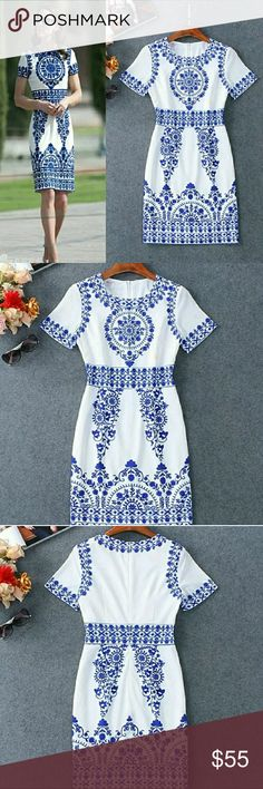Vintage Porcelain Kate Middleton dress Short sleeve elegant bodycon pencil dress Dresses Midi