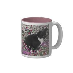 Freckles in Flowers II - Tuxedo Kitty Cat Coffee Mug #DianeClancy black and white tux cat
