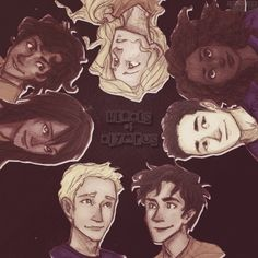 Starting from up top working clockwise... Annabeth, hazel, frank, Percy, Jason, piper, and Leo!