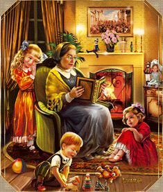 Themes Vintage illustrations/pictures - Cozy Time with Grandma pieces) Christmas Scenes, Christmas Pictures, Christmas Art, Vintage Christmas, Vintage Greeting Cards, Vintage Postcards, Photo Zen, Gifs, Beautiful Gif
