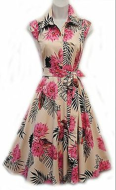 New Vtg Retro Ivory Pink Tropical Floral Shirt Tea Dress by Rosa Rosa Vintage Tea Dress, Vintage Dresses, Pink Tea Dresses, Casual Dresses, Fashion Dresses, Floral Fashion, Evening Dresses, Summer Dresses, Dress Patterns
