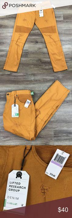 lrg mens destroyed distressed jeans orange nwt