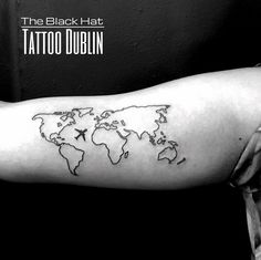 world map and plane small tattoo idea made by The Black Hat Tattoo