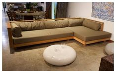 Diy Furniture Couch, Diy Sofa, Home Decor Furniture, Living Room Sofa Design, Living Room Designs, Wood Sofa, Teak Wood, Wooden Couch, Wood Frame Couch