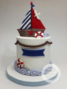Nautical cake  by Silvia Caballero Nautical Wedding Cakes, Nautical Cake, Camo Wedding, Ocean Cakes, Beach Cakes, Fondant Cakes, Cupcake Cakes, Boat Cake, Baby Birthday Cakes
