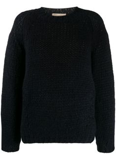 Marine blue wool and alpaca blend cable knit jumper from Vanessa Bruno Athé featuring a ribbed crew neck, long sleeves and a ribbed hem and cuffs. Vanessa Bruno, Cable Knit Jumper, Marine Blue, Pullover, Blue Wool, World Of Fashion, Size Clothing, Crew Neck, Women Wear