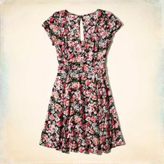 Floral Cutout Skater Dress :: Supersoft and drapey with a scoop neck, button closure at front and cutout detailing at front and back.
