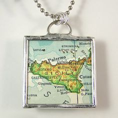 Sicily Vintage Map Pendant Necklace by XOHandworks $20.00