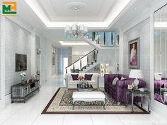 Chị Nga rất yêu thích màu tím, chính vì thế nhà thiết kế nội thất của Mạnh Hệ đã chọn màu tím là màu chính. ghế sofa, gối ôm...kết hợp cùng màu trắng xám chủ đạo.