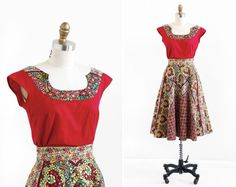 vintage 1950s dress / 50s dress / Red and Yellow by RococoVintage, $186.00