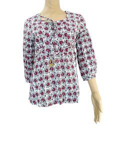 Hand Block Print Jaipuri Cotton Top/Tunic- Maroon Flower Pattern