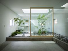 I love this bathroom. I love the idea of inside and outside in the same room.    http://www.suppose.jp/index.html