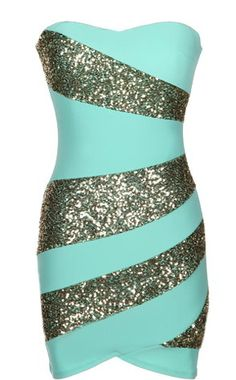 Holiday Swirl Dress: Features a super feminine sweetheart neckline, matte mint foundation with glittering ash gold swirls to the front, solid backside with centered rear zip closure, and a beckoning body-conscious silhouette to finish.