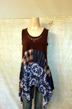 Boho Shirt, Romantic Bohemian Junk Gypsy Style, Mori Girl, Lagenlook, Cowgirl Country Girl Chic