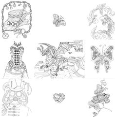 9 Page Steampunk Coloring Book Adult coloring by colorblinddragon