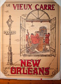 Vintage New Orleans Poster, LE Vieux Carre, French Quarter, Bourbon Street Jazz Music Poster, Dated 1978